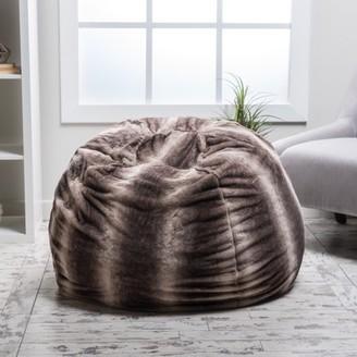 Noble House Glam Faux Fur Bean Bag Chair, Oak Brown