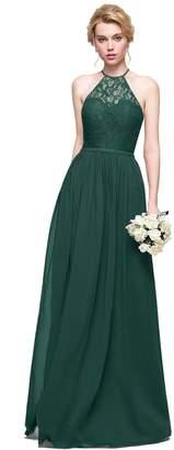 Loffy Women's Elegant Sleeveless Long Chiffon Bridesmaids Dress