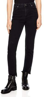 Sandro Opéra High-Rise Frayed Straight-Leg Jeans in Black