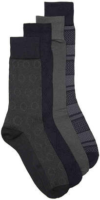 Perry Ellis Luxury Microfiber Stripe Crew Socks - 4 Pack - Men's