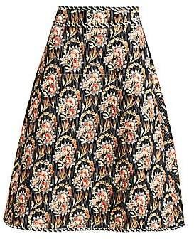Oscar de la Renta Women's Floral A-Line Midi Skirt