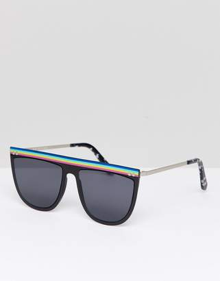 Spitfire Flat Brown Sunglasses In Black