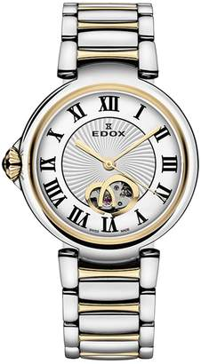 Edox Watches Women's LaPassion Open Heart Swiss Automatic Two-Tone Bracelet Watch, 33mm
