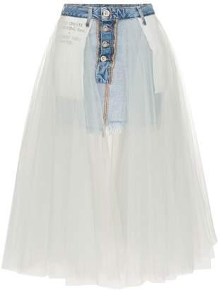 Unravel Project Reverse cotton denim mini-skirt with tutu