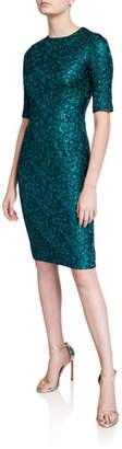 Rickie Freeman For Teri Jon Stretch Jacquard Short-Sleeve Sheath Dress