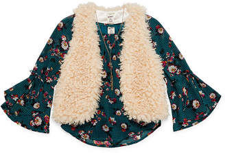 Arizona Print Top with Fur Vest & Necklace - Girls' 4-16 & Plus