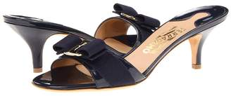 Salvatore Ferragamo Patent Leather Kitten Heel Sandal Women's Dress Sandals