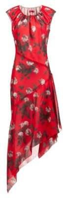 HUGO Asymmetric-hem dress with floral print and drawstring neckline