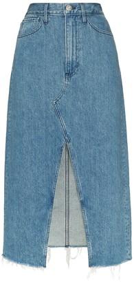 3x1 Elizabella front slit denim skirt