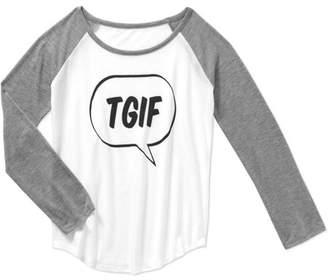 Gems and Jets Girls' Raglan Long Sleeve Crew Neck TGIF Graphic Tee
