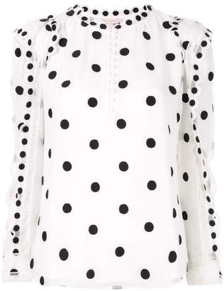 Rebecca Taylor embroidered polka-dot blouse