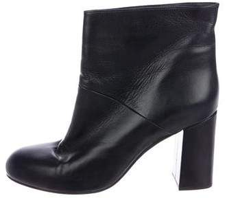 Marni Leather Round-Toe Ankle Boots