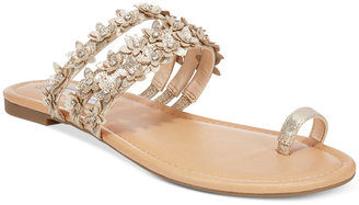 INC International Concepts Women's Linaa Flower Embellished Flat Sandals, Only at Macy's $69.50 thestylecure.com