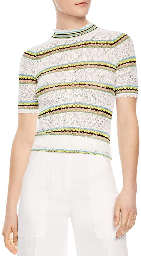 Jewel Striped Openwork Sweater
