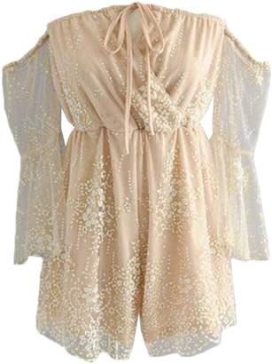 'Jacklin' Sequin Glitter Lace Crochet Romper