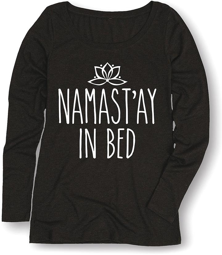 Black 'Namast'ay in Bed' Long-Sleeve Tee