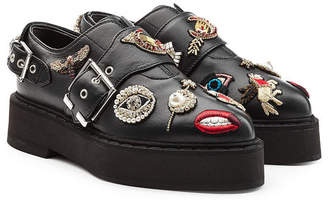 Alexander McQueen Embellished Leather Monk Shoes