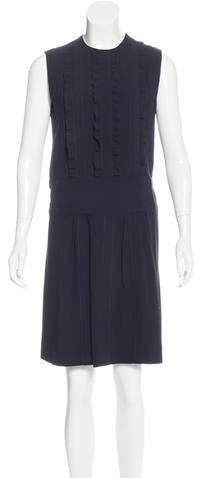 prada Prada Ruffle-Trimmed Sleeveless Dress
