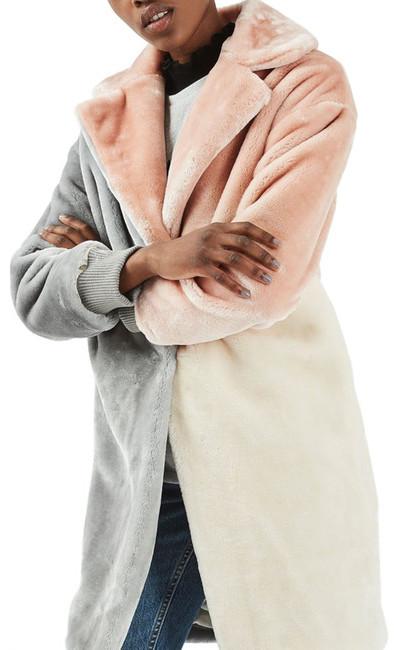 TopshopTOPSHOP Patchwork Faux Fur Coat