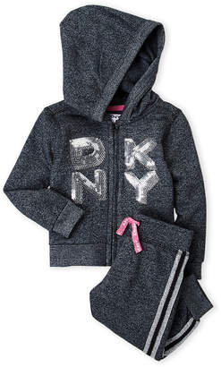 DKNY Infant Girls) Two-Piece Sequin Logo Hoodie & Joggers Set
