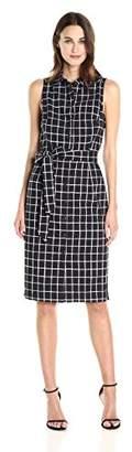 Betsey Johnson Women's Stretch Cotton Shirt Dress, Black/White
