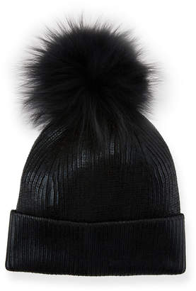Metallic Fur-Pompom Beanie Hat