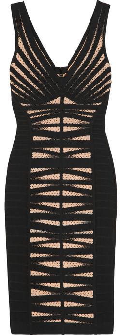 Herve Leger Bead-embellished bandage and mesh dress