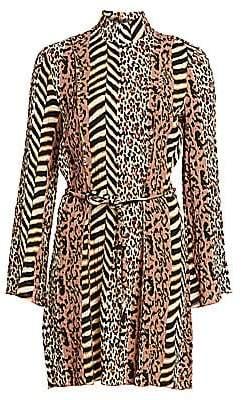 Nanushka Women's Animal Print Mockneck Dress