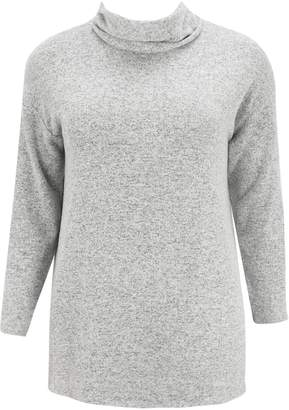 Evans Grey Soft Touch Roll Neck Top