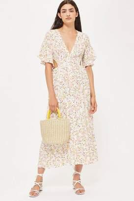 Topshop Ditsy Cut Out Midi Dress