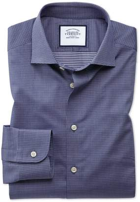 Charles Tyrwhitt Extra Slim Semi-Spread Collar Fit Business Casual Navy Multi Puppytooth Cotton Dress Shirt Single Cuff Size 14.5/33