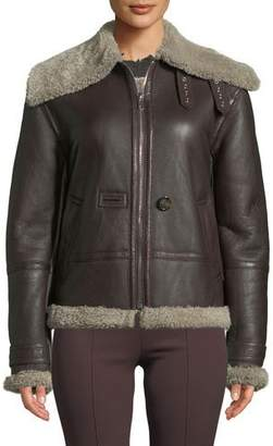 Helmut Lang Aviator Leather Zip-Front Jacket with Shearling Trim