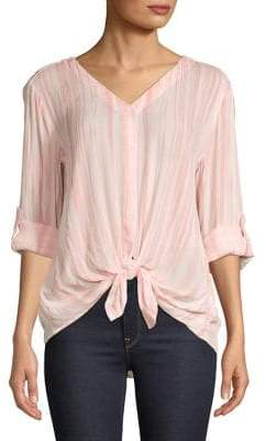 Style&Co. Style & Co. Striped V-Neck Button-Down Blouse