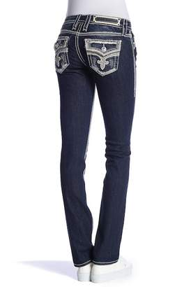 Rock Revival Topstitched Straight Leg Jeans