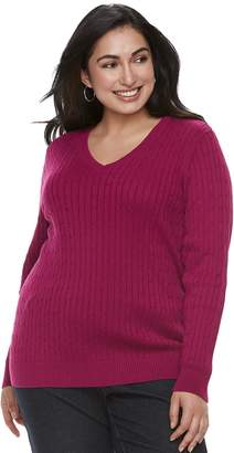 Croft & Barrow Plus Size Essential Cable Knit V-Neck Sweater