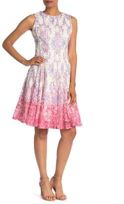 Gabby Skye Sleeveless Printed Lace Knee Length Dress