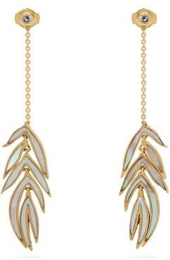Marc Alary 18kt gold and mother-of-pearl leaf earrings