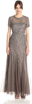 Adrianna Papell Women's Short Sleeve Beaded Mesh Gown