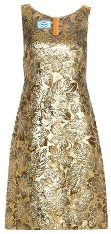 Prada Metallic cloqué jacquard dress