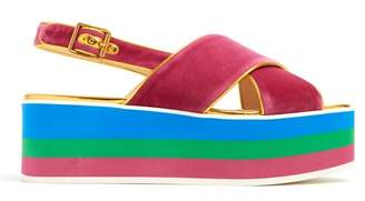 Gucci Peggy Velvet Platform Sandals - Womens - Pink Multi