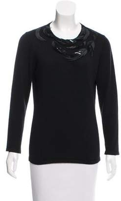 Oscar de la Renta Embellished Knit Sweater
