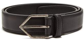 Saint Laurent Triangle Buckle Skinny Leather Belt - Womens - Black