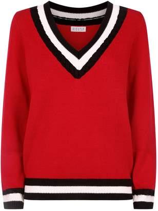 Claudie Pierlot Striped V-Neck Sweater