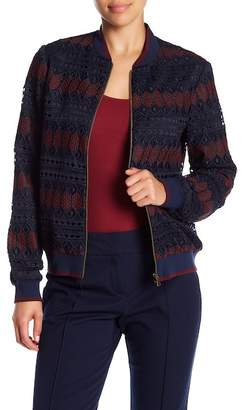 Trina Turk Patchett Crochet Lace Bomber Jacket