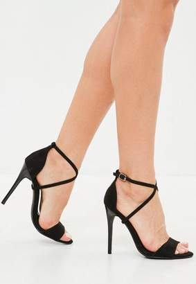 Missguided Black Cross Strap Barely There Heels