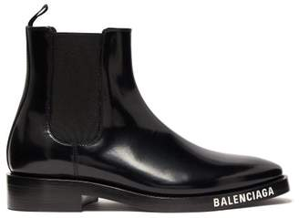 Balenciaga Logo Debossed Patent Leather Chelsea Boots - Womens - Black