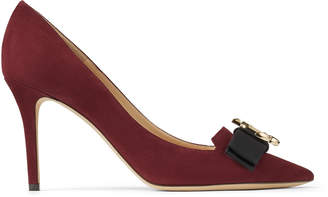 Jimmy Choo ARI 85/JC Bordeaux Suede Pointed Toe pumps with Grosgrain Bow
