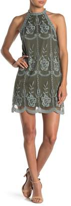 Honey Punch Lace Embroidered Halter Dress