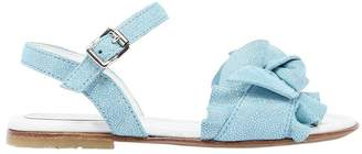 Glittered Suede Sandals W/ Bow Detail