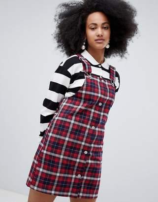 Monki Check Overall Dress